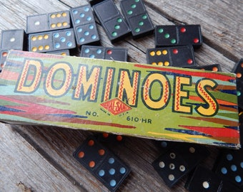 Vintage Dominoes Color Dot Double Six by Halsam 1930s dominoes set