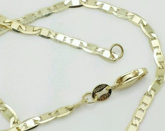 """10k Solid Yellow Gold Mariner Anchor Necklace Pendant Chain 16"""" 18"""" 20""""24"""" 2.3mm"""