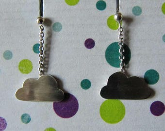 """Cloud hanging"" earring silver"