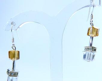 Champagne Glass Crystal Earrings