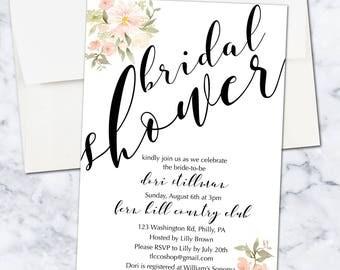 Floral Bridal Shower Invitation, 5x7, Digital Download