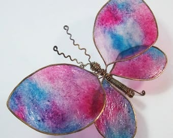 Copper Wire Butterfly, with paper wings