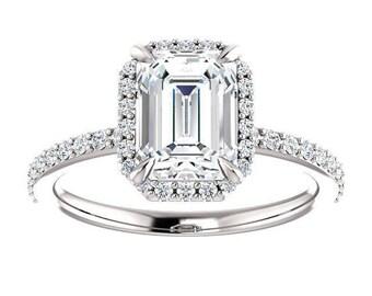 Forever One Moissanite Engagement Ring- Flora | emerald | minimalist moissanite halo engagement ring