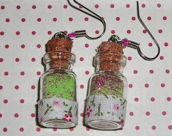 Pair of earrings floral jars (bottles earrings)