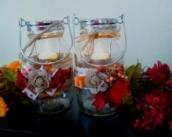 Fall Quart Mason Jar Lanterns