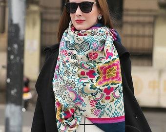 Multicolor Scarf Pashmina Shawl Beige Scarf Cashmere Shawl Rainbow Flowers Scarf Hijab Shawl Boho Bohemian Scarves Oversized Wool Shawl Wrap