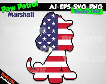 Marshall svg silhouette Paw patrol svg Dog American flag svg Paw patrol party Paw patrol birthday Paw patrol printable Paw patrol digital