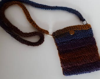 Crocheted Navy and Brown Cross-Body Purse