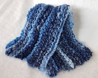 Handmade Knitted Chunky Blue Scarf