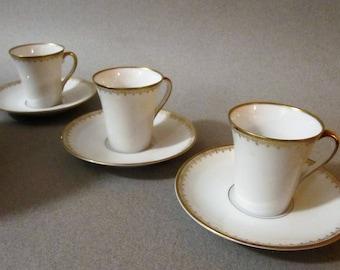 Set of 3 Upsala Ekeby Karlskrona coffee cup with saucer. Swedish vintage, 1960s.