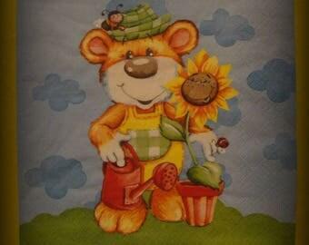 gardener bear decopatch paper towel