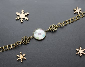 Retro, polka dots, pastel, glass cabochon bracelet
