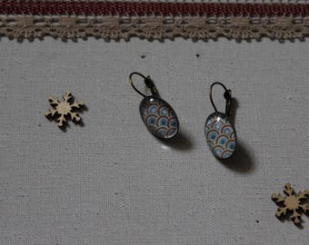 Earring, blue, glass cabochon