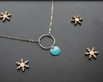 Silver necklace, pendant round turquoise blue sequin