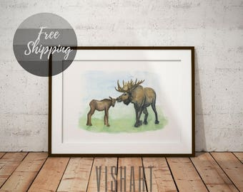 Woodland print moose nursery animal art for baby wall decor gender neutral gift for kids Nursery picture on canvas wall art print watercolor
