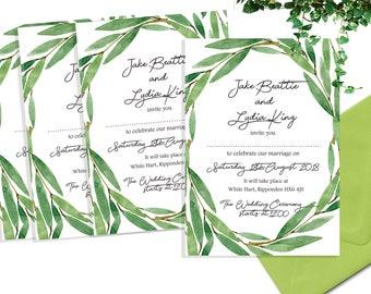 A6 Green and white leaf wedding invitation