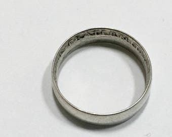 1918 Ring French Coin Ring WWI Trench Art Jewelry Size 6 Minimalist Wedding Band Antique Vintage
