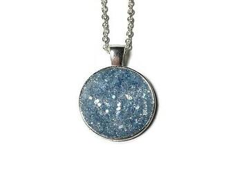 Druzy pendant, Druzy necklace, geode jewelry, pendant necklace, under 20 dollars, blue Druzy, Druzy jewelry, medallion, crystal pendant