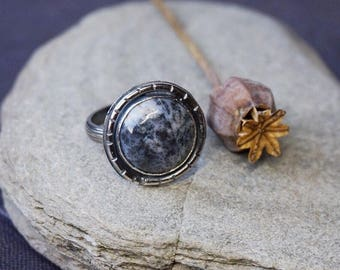 Sterling Silver Dendritic Agate ring US size 6