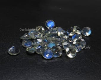 Natural Rainbow Moonstone 4MM Faceted Round - 1 To 10 Pieces - 4MM Faceted Round Rainbow Moonstone
