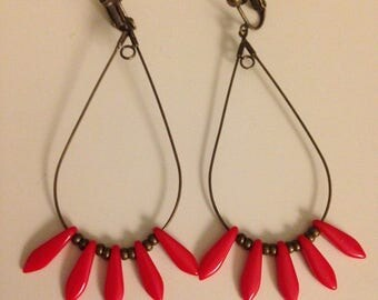 Red elongated beads earrings