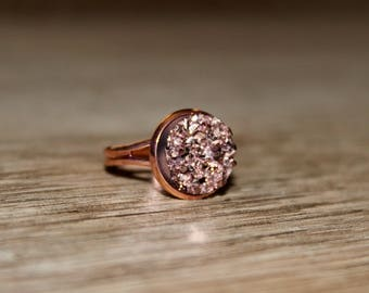 Rose Gold Druzy Adjustable Ring w/ Rose Gold Setting