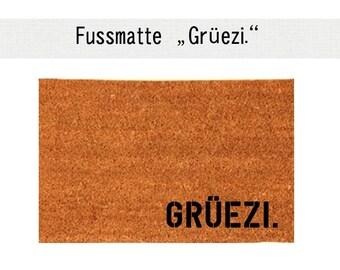 """""""GRÜEZI"""". Coco - mat carpet door mat 40 x 60 cm"""