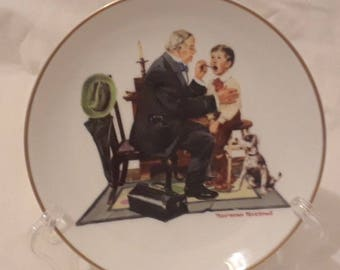 """Norman Rockwell """"The Country Doctor"""" 1985 Collectible Ceramic plate"""