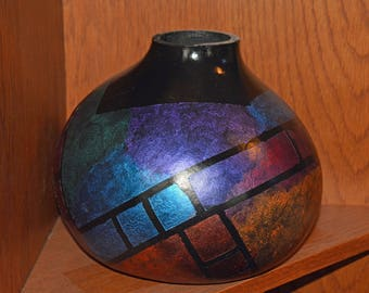Large Multi-colored Stained Glass Gourd Vase