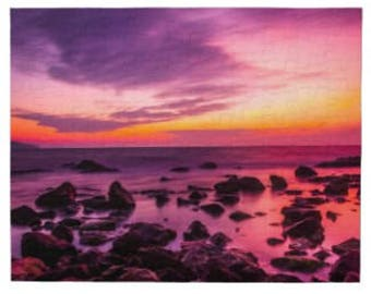 Jigsaw Puzzle Intense Sunset Over a Rocky Ocean