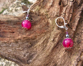 "Earrings fuchsia Pearl ""Reflections"", Pearl gray"