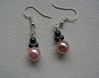 "Earrings pink and gray pearls ""Wedding and ceremony"""