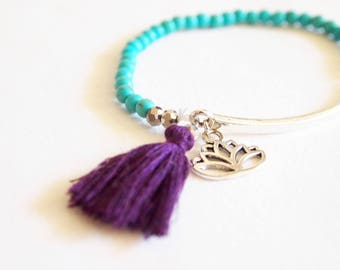 Lotus and tassel boho, Bohemian crystal beads, hippie chic Stretch Bracelet