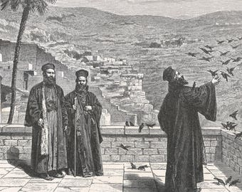 Moons of Monastery Mar Saba, Palestine 1885 - Old Antique Vintage Engraving Art Print - Monastery, Men, Monks, Religion, Birds, Flock