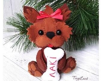 Dog Ornaments, Felt Animals, Felt York, Yorkshire Terrier, Bull Terrier, Puppy, Christmas Decorations, Housewarming Decorations, Dog Lover
