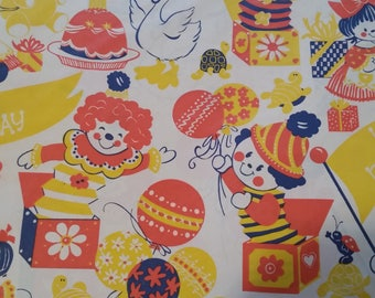 Vintage Wrapping Paper - Vintage Sangamon Juvenile Birthday Gift Wrap - 2 Full Sheets in Sealed Package