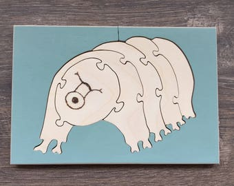 Tardigrade puzzle, waterbear puzzle, microscopic puzzle, kids gift, wooden toy, Science toy, STEM toy, animal puzzle, microscope