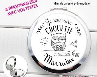 """Miroir de poche personnalisé - Modèle """"Chouette"""" - textes personnalisables - cadeau pour marraine, maman, mamie, tata etc..."""