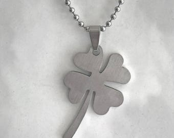 "Stainless Steel 4-Leaf Clover Pendant on 24"" Steel Ball-Chain Necklace in Velvet Gift Pouch"