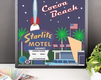 Night at the Starlite Drive in Cocoa Beach Florida Framed poster