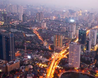Hanoi city at night, from Lotte tower