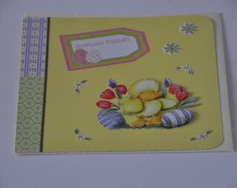 Card chick with 2 eggs and Tulips