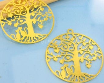 Golden Pendant 2 prints - Diam30mm - tree with cats # E80