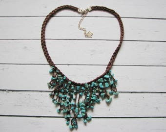 Turquoise and cinnamon cotton necklace