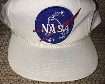Vintage Nasa Hat Snapback White