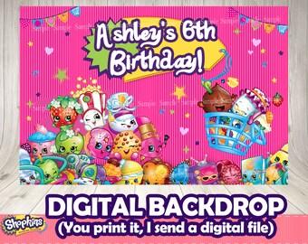 SHOPKINS BACKDROP (digital file you print)- Shopkins printable .Shopkins birthday party.Shopkins photobooth. Shopkins buffet. Shopkins decor