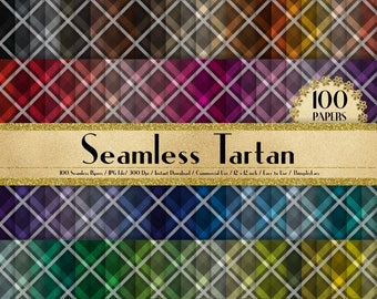 """100 Seamless Tartan Papers in 12"""" x 12"""", 300 Dpi Planner Paper, Scrapbook Paper,Rainbow Paper,100 Tartan Papers,100 Cloth Papers"""