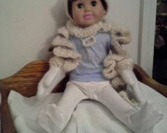 """18"""" doll Scarf Hat Mittens set 377E"""