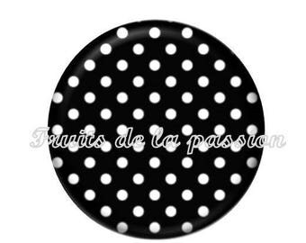 1 cabochon 30mm vintage black and white polka dots round glass