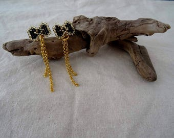 Black and gold bow earrings